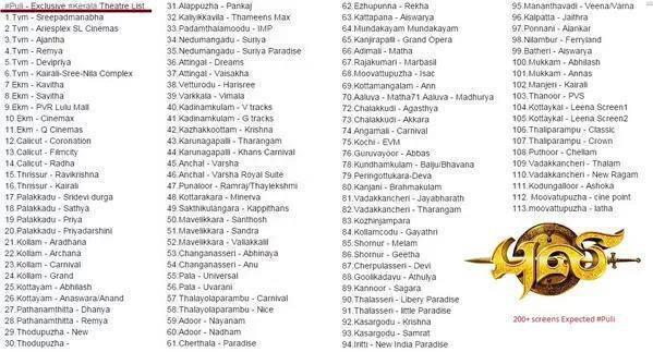 Tamil Movie Puli Kerala Theatre list