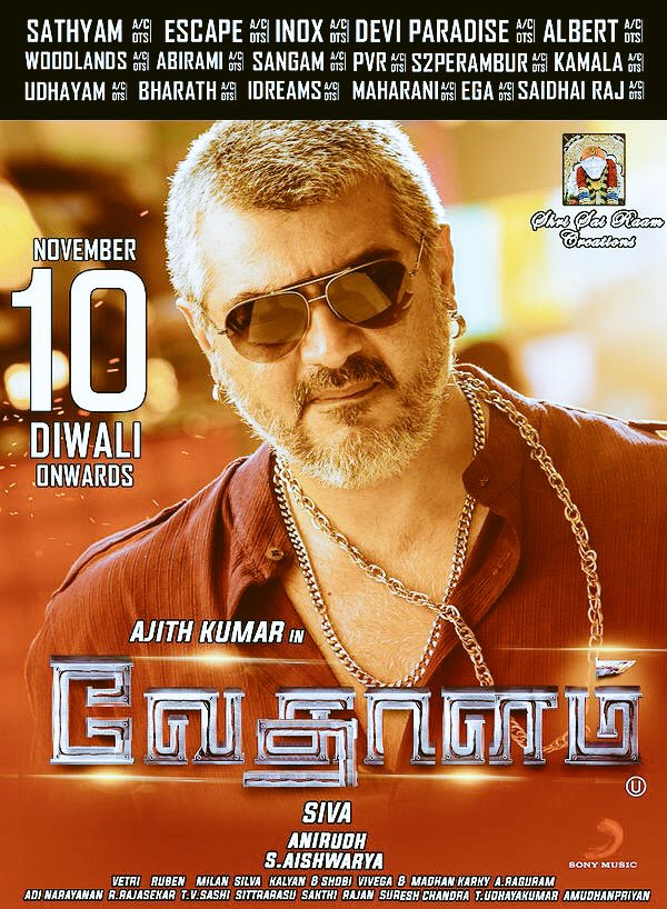 Vedalam Vedhalam Chennai Release Theatre List