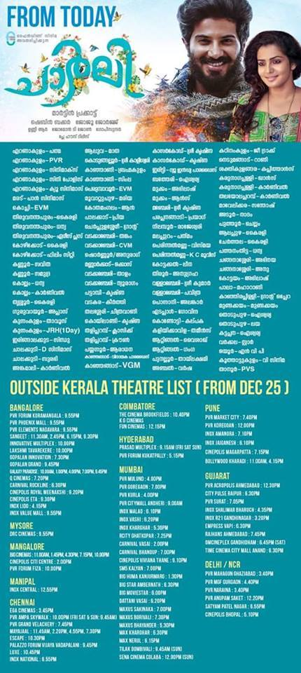 Malayalam Movie Charlie India Theatre List