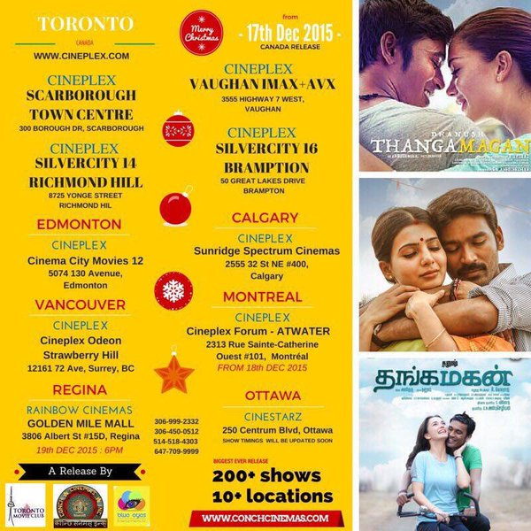 Thanga Magan Canada Theatre List Show Time